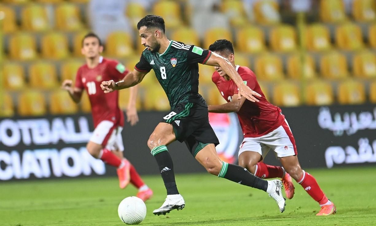 Majed Hassan kêu gọi đồng đội nỗ lực gấp đôi ba trận trước khi đấu Việt Nam. Ảnh: UAEFA.
