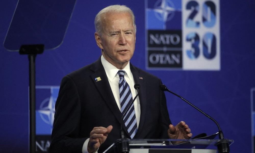 Tổng thống Mỹ Joe Biden phát biểu tại cuộc họp báo sau hội nghị thượng đỉnh NATO ở Brussel, Bỉ hôm 13/6. Ảnh: AFP.