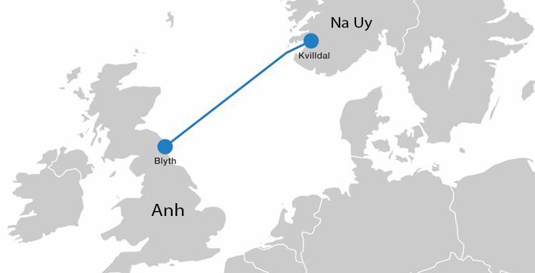Vị trí cáp điện ngầm dài nhất thế giới North Sea Link trên bản đồ. Ảnh: Wire Cable.