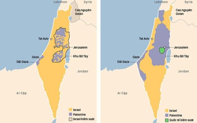 Lãnh thổ Israel - Palestine hiện nay (trái) và do Liên Hợp Quốc đề xuất. Đồ họa: Việt Chung. Bấm vào ảnh để xem chi tiết