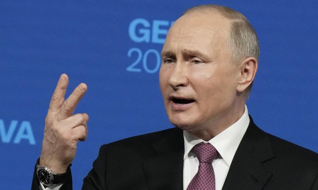Tổng thống Nga Vladimir Putin trong cuộc họp báo sau hội nghị thượng đỉnh với người đồng cấp Mỹ Joe Biden tại Geneva, Thụy Sĩ, hôm 16/6. Ảnh: AFP.