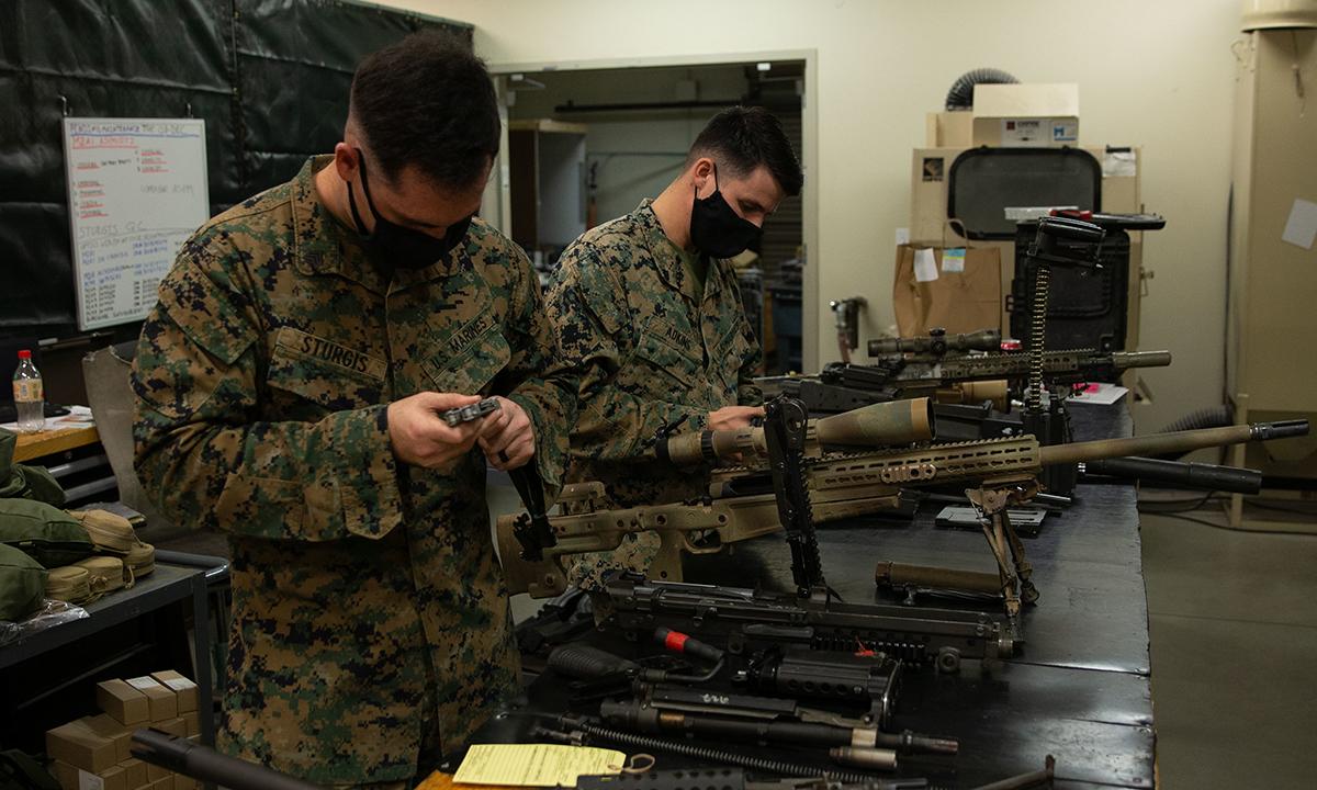 Binh sĩ thủy quân lục chiến Mỹ kiểm đếm vũ khí tại căn cứ Pendleton tại bang California tháng 11/2020. Ảnh: USMC.