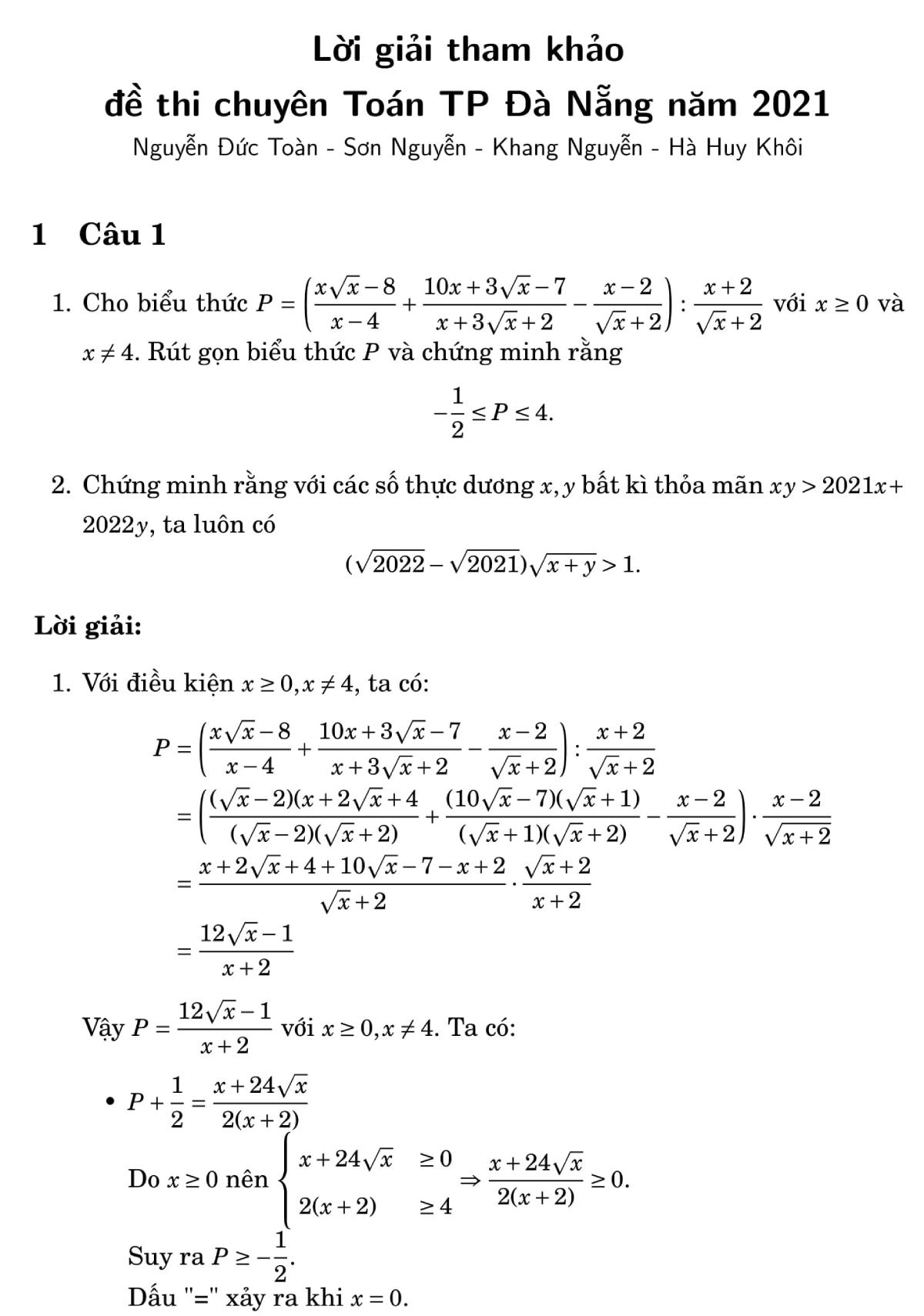 Giải đề Toán chuyên vào lớp 10 ở Đà Nẵng