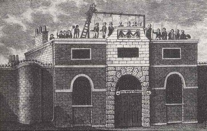 Tranh vẽ cảnh hành quyết tại nhà tù Horsemonger Lane Gaol. Ảnh: Southwark News.
