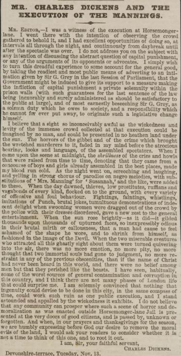 Bài bình luận của Charles Dickens gửi tờ The Times về vụ hành quyết là một trong những tiếng nói đầu tiên chống lại hình phạt treo cổ trước đám đông. Ảnh: British Library.