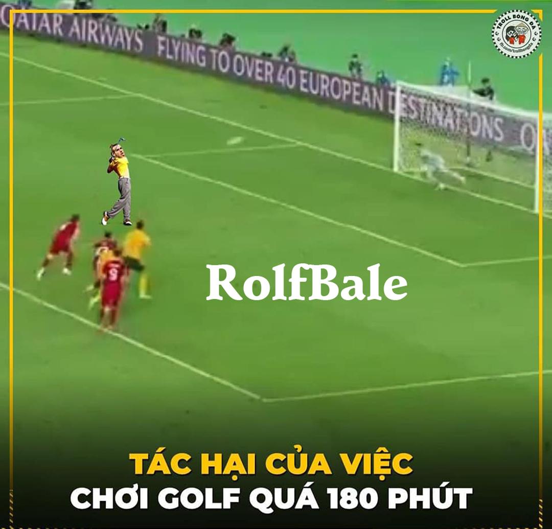 Cú sút penalty của G.Bale bay thẳng lên trời khiến nhiều người hài hước do chơi golf quá nhiều nên quen.