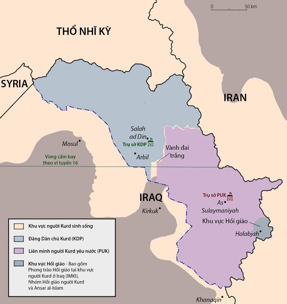 Khu vực sinh sống của người Kurd. Đồ họa: CIA.