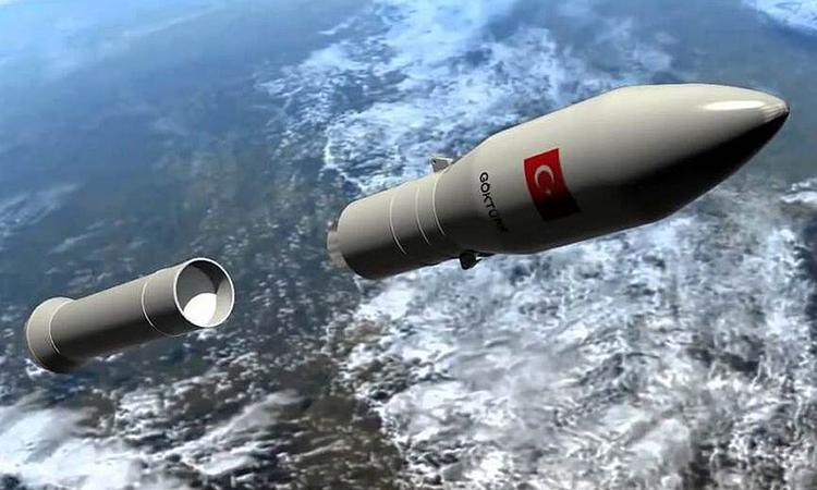 Mô phỏng tên lửa của Thổ Nhĩ Kỳ đưa robot thám hiểm lên Mặt Trăng. Ảnh: Turkey Gazette.