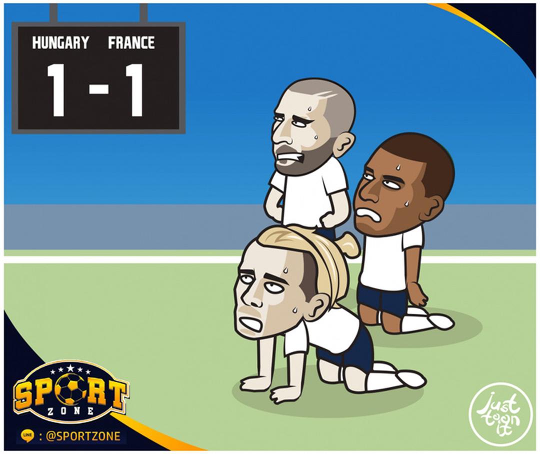 Ở trận đấu còn lại của bảng F, Pháp chật vật giành 1 điểm trước Hungary.