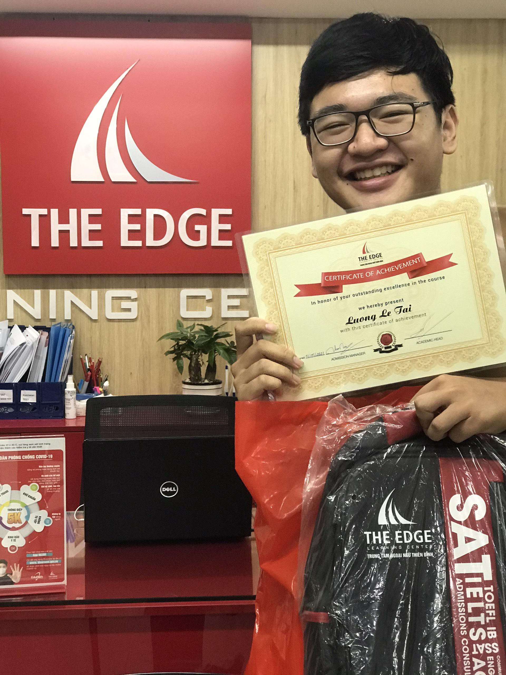 Lương Lê Tài - học viên The Edge khoá IELTS online đạt 8.0 IELTS kỳ thi vào tháng tháng 5/2021.