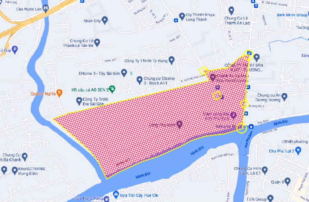 Khu phố 2 (màu đỏ) phường 16, quận 8 với 2.000 dân bị phong toả từ 12h ngày 21/6. Đồ hoạ: UBND quận 8.