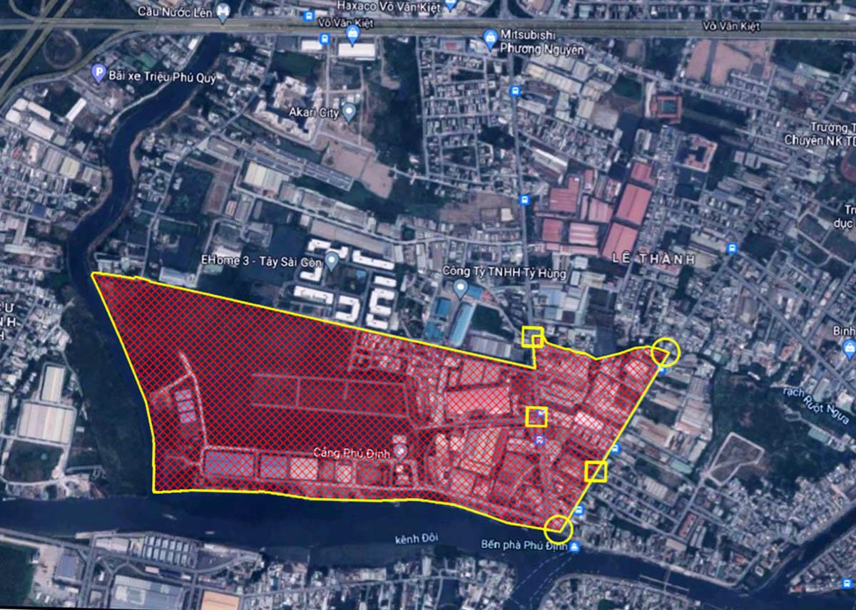 Khu vực được đề xuất phong toả (màu đỏ). Đồ hoạ: UBND quận 8.
