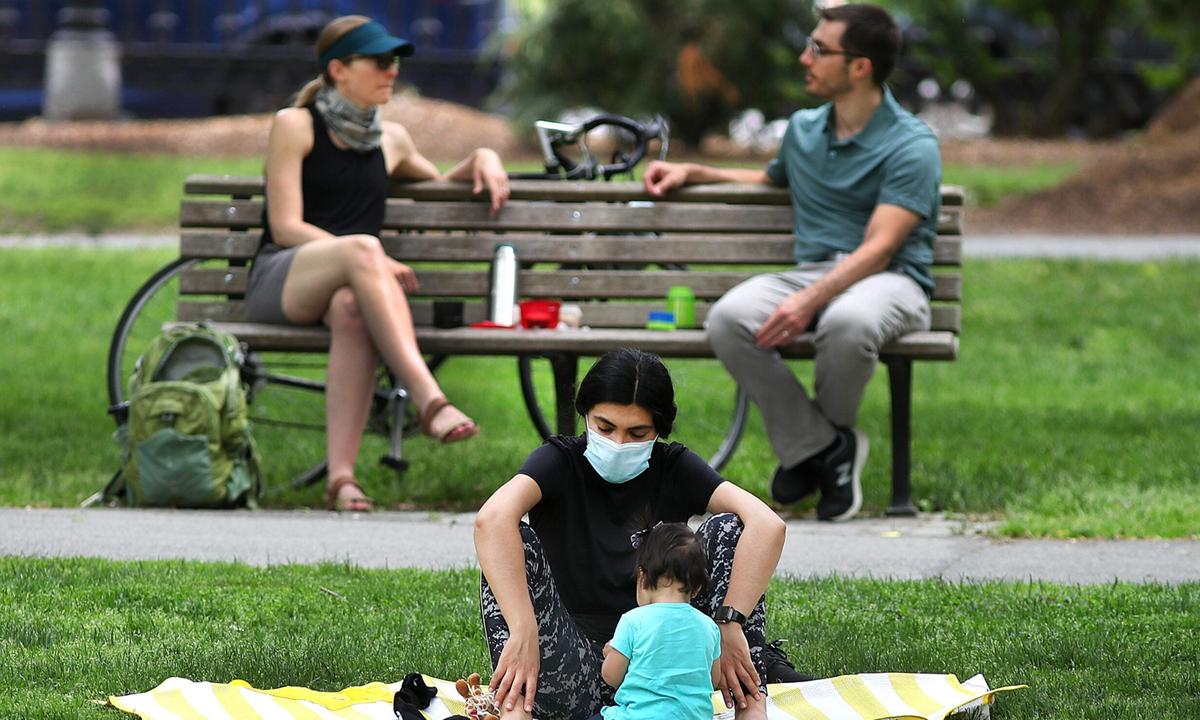 Một công viên ở Boston, bang Massachusetts vào tháng 7/2020. Ảnh: Boston Globe.