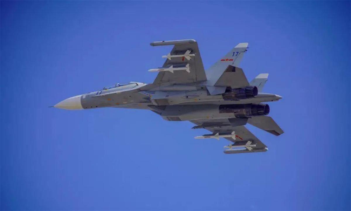 Tiêm kích Su-30MKK của Trung Quốc tham gia diễn tập hồi tháng 2/2220. Ảnh: PLA.