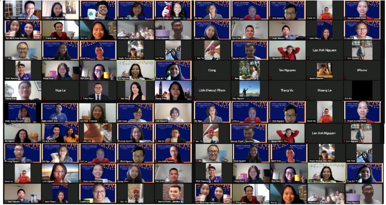 Các du học sinh Việt theo học chương trình MBA tại Mỹ trong buổi tốt nghiệp online, được tổ chức vào đầu tháng 6. Ảnh: Nhân vật cung cấp
