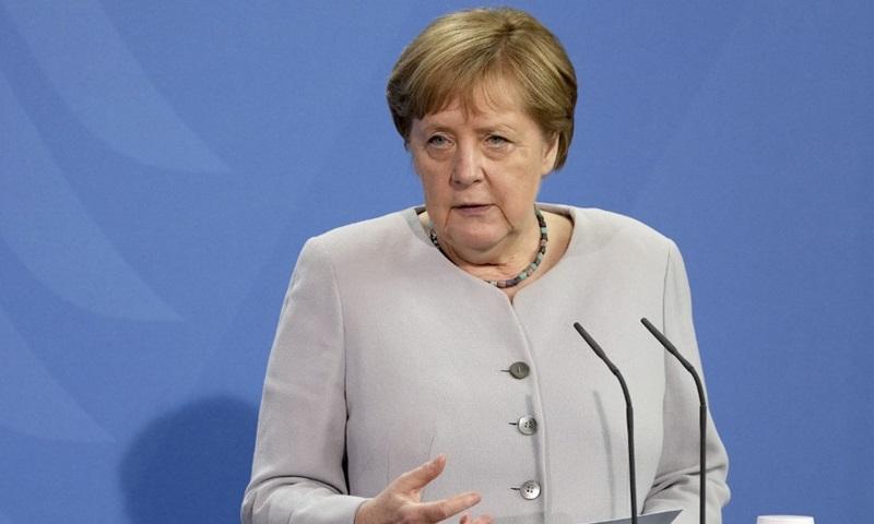 Thủ tướng Đức Angela Merkel tại cuộc họp báo ở Berlin hôm 22/6. Ảnh: AFP.
