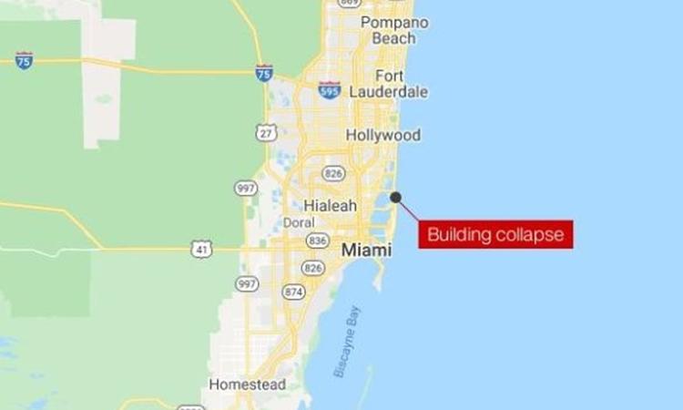 Khu vực xảy ra vụ sập tòa nhà cao tầng ở Miami Beach, Florida, Mỹ, hôm nay. Đồ họa: Google Maps.