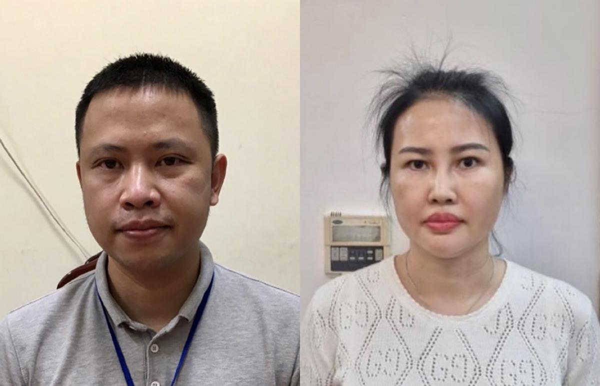 Bị can Vũ Ngọc Minh (trái) và Hoàng Thị Thuý Nga. Ảnh: Bộ Công an.