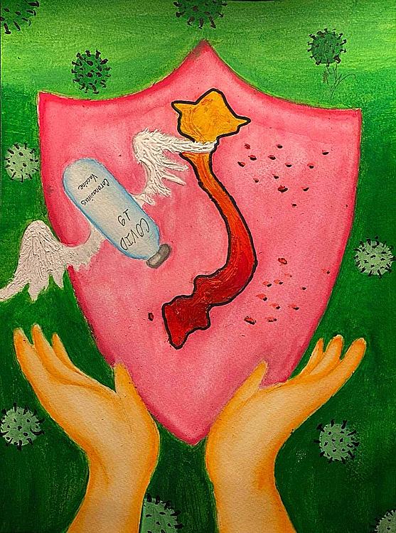 Bức tranh của Vicky Lê, học sinh lớp 8 gốc Việt tại Texas, Mỹ. Ảnh: Facebook/Chung tay vì Việt Nam.
