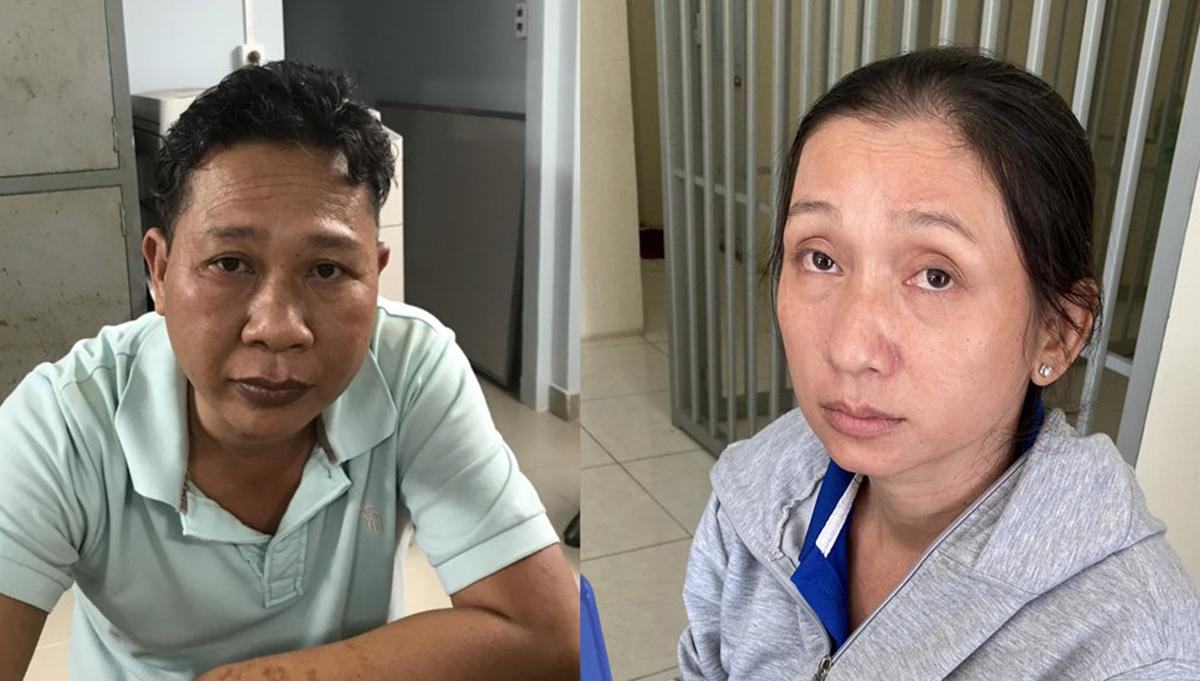 Vợ chồng Nga - Trung khi bị bắt. Ảnh: Phòng Cảnh sát Hình sự cung cấp.
