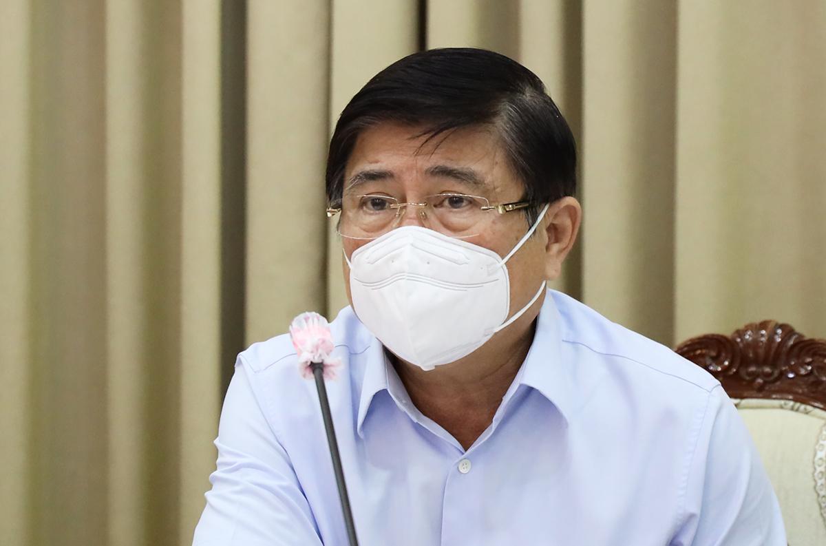 Chủ tịch UBND thành phố Nguyễn Thành Phong chủ trì buổi làm việc. Ảnh: Trung tâm báo chí TP HCM.