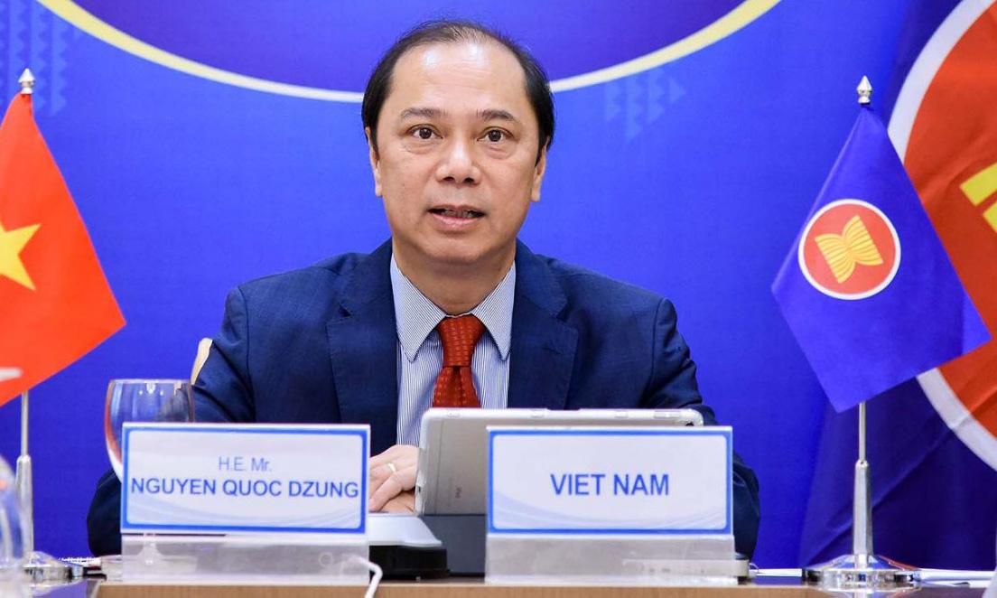 Thứ trưởng Ngoại giao Nguyễn Quốc Dũng tại Hội nghị trực tuyến SOM ARF hôm nay. Ảnh: Bộ Ngoại giao.