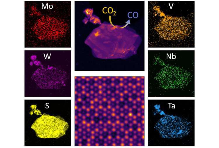 Hình ảnh từ kính hiển vi điện tử cho thấy sự phân bố của các nguyên tố khác nhau trong một mảnh hợp kim TMDC. Ảnh: Phòng thí nghiệm Mishra.