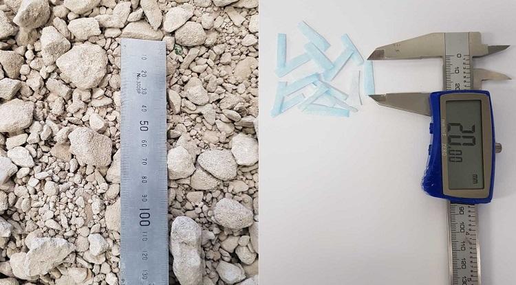 Cốt bê tông tái chế (trái) và vụn khẩu trang được phối trộn để tái chế. Ảnh: RMIT.