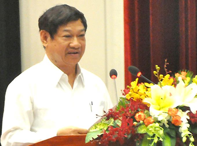 Ông Liên Khui Thìn được tuyên dương tại hội nghị do Công an TP HCM tổ chức năm 2014. Ảnh:Quốc Thắng.