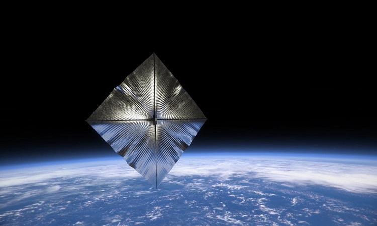 Mô phỏng cánh buồm mở rộng trên quỹ đạo Trái Đất. Ảnh: NASA.