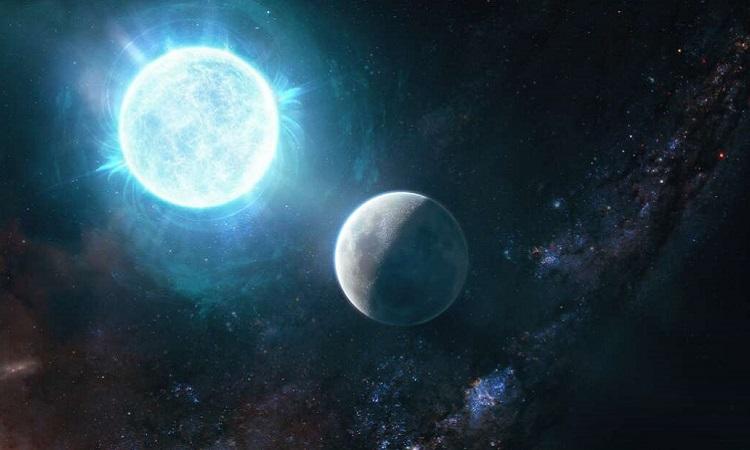 So sánh sao lùn trắng ZTF J1901+1458  với Mặt Trăng. Ảnh: Giuseppe Parisi.