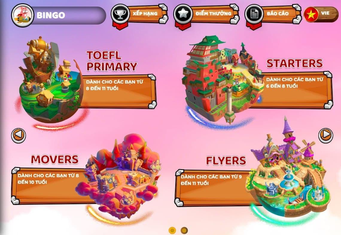 Các chương trình tiếng Anh cho trẻ tiểu học trên phòng thi ảo Flyer.