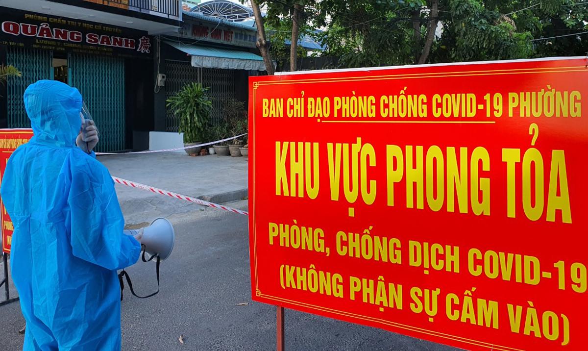 Điểm phong tỏa tại TP Tuy Hòa, do liên quan ca nhiễm nCoV. Ảnh: An Phước.