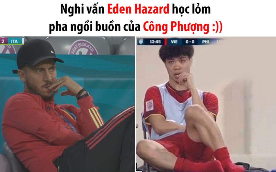 Hai dáng ngồi buồn của Eden Hazard và Công Phượng.