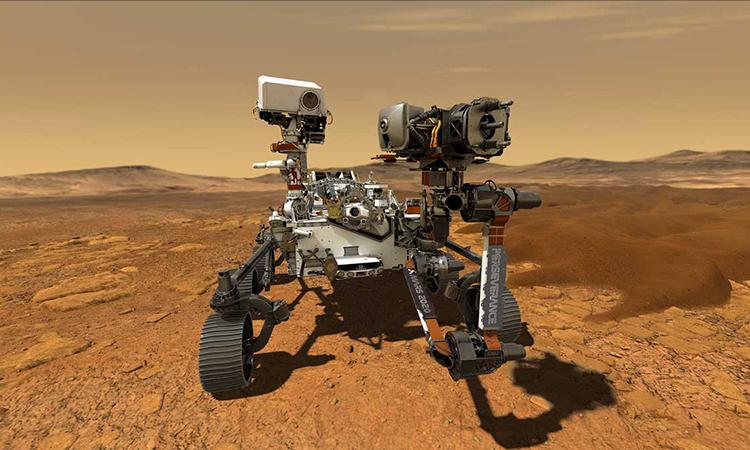 Mô phỏng robot Perseverance hoạt động tại miệng hố Jezero trên sao Hỏa. Ảnh: NASA.