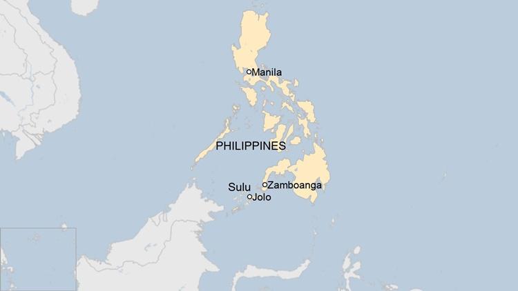 Vị trí đảo Jolo thuộc tỉnh Sulu, phía nam Philippines. Đồ họa: BBC.