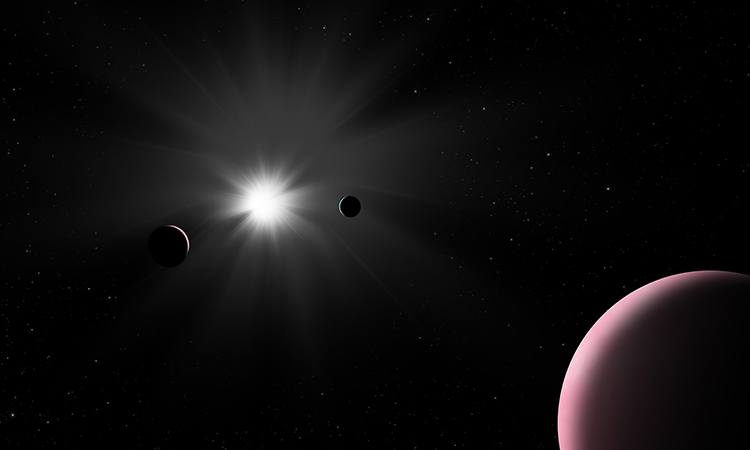 Mô phỏng ba hành tinh quay quanh ngôi sao Nu2 Lupi sáng như Mặt Trời. Ảnh: IAC.