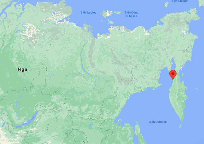 Khu vực Palana ở vùng Viễn Đông, Nga (chấm đỏ). Đồ họa: Google Maps.