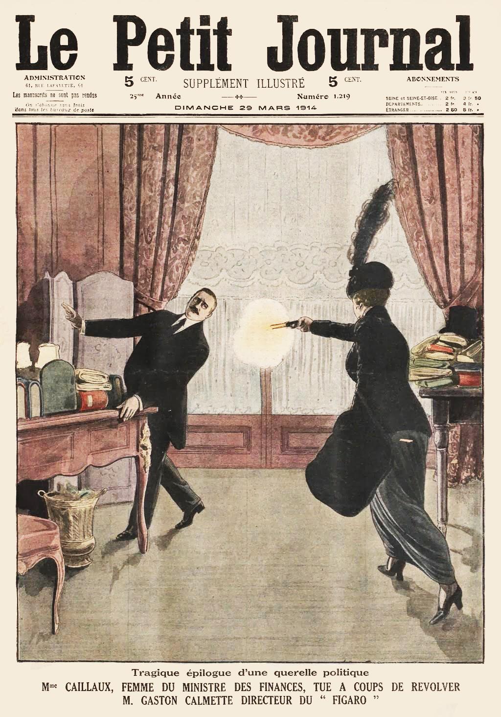 Minh hoạ trang nhất của tờ Le Petit Journal về vụ án mạng giữa phu nhân Henriette và Tổng biên tập nhật báo Le Figaro. Ảnh: Bibliothèque Nationale de France