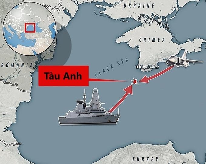 Vị trí chiến hạm Anh chạm trán tàu biên phòng, cường kích Nga ngoài khơi Crimea. Đồ họa: Salten News.