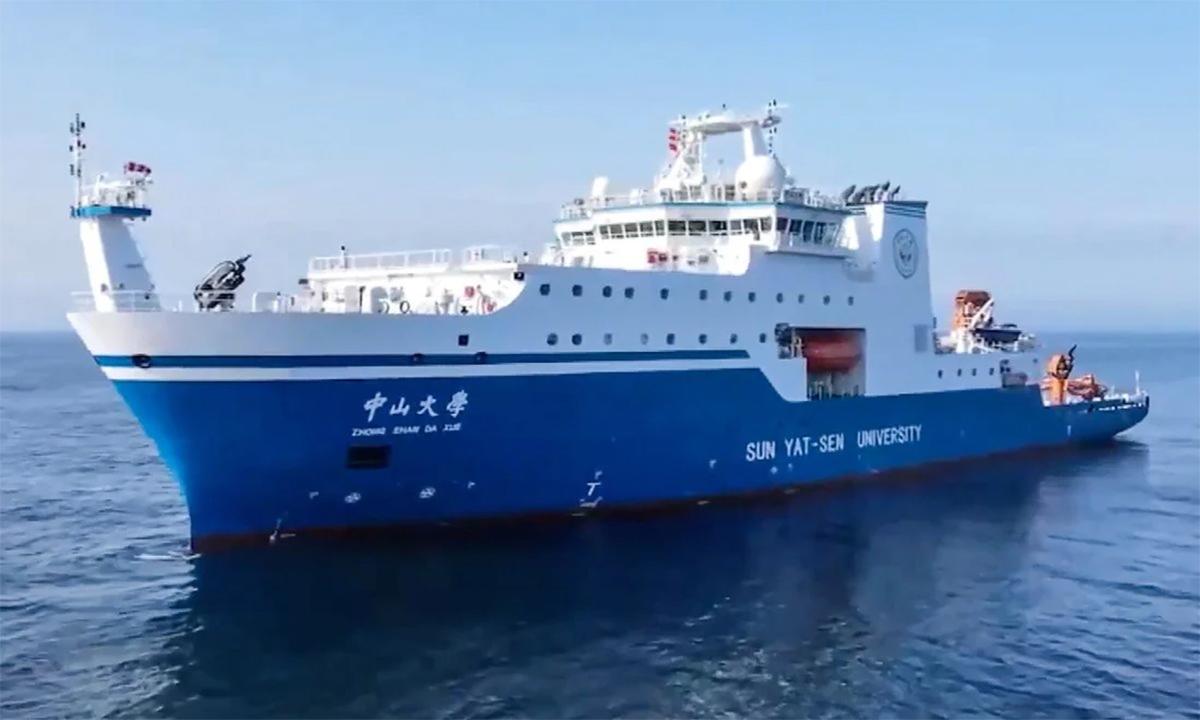 Tàu nghiên cứu Đại học Trung Sơn trong một chuyến thử nghiệm trên biển. Ảnh: Xinhua.