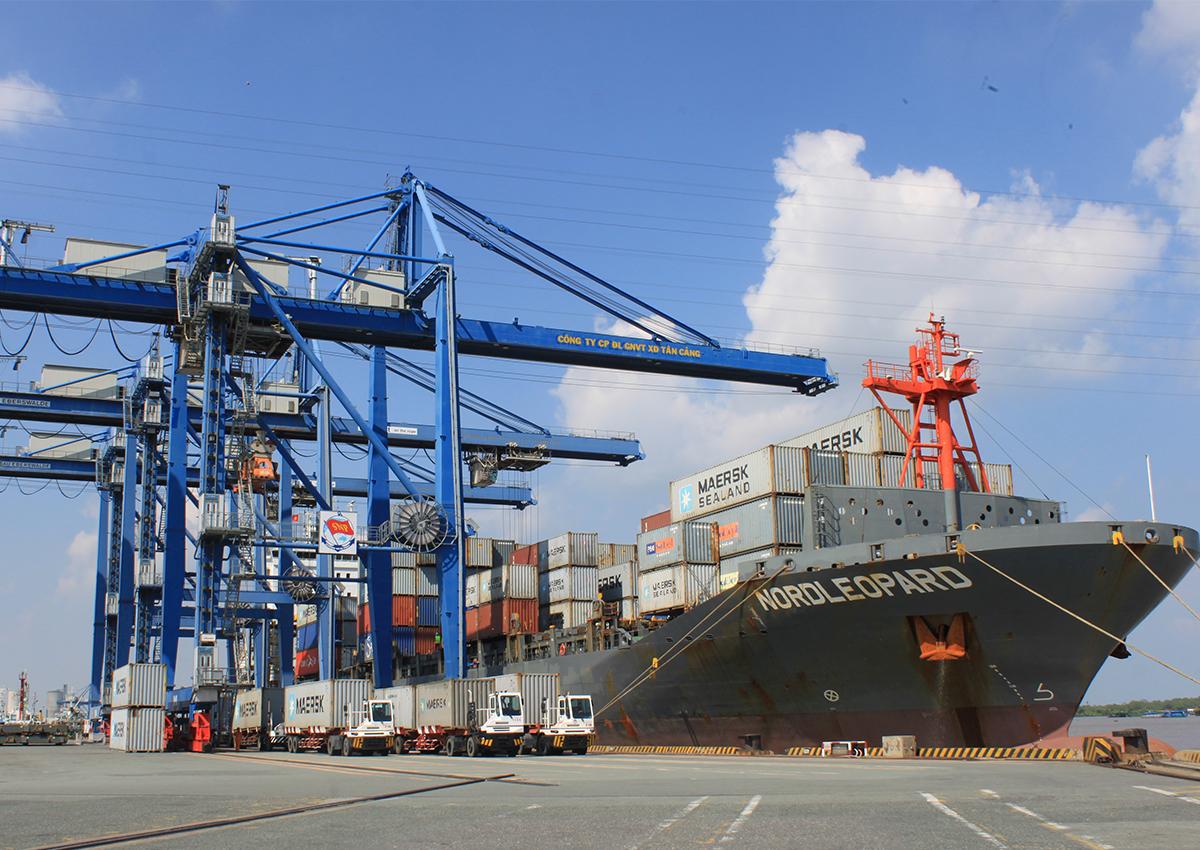 Tàu nước ngoài tại cảng Cái Mép - Thị Vải. Ảnh: Anh Duy.