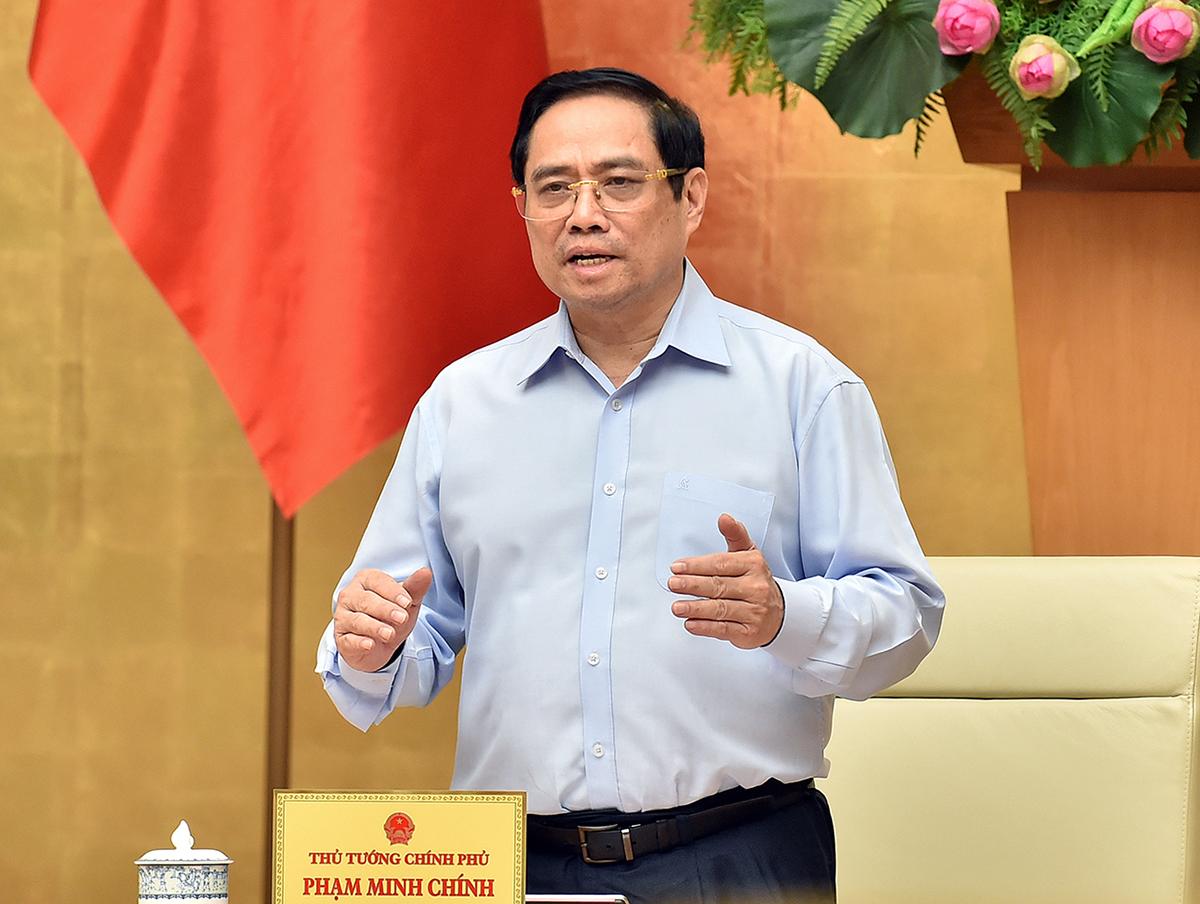 Thủ tướng Phạm Minh Chính chủ trì họp trực tuyến với TP HCM về phòng chống Covid-19, sáng 8/7. Ảnh: Nhật Bắc