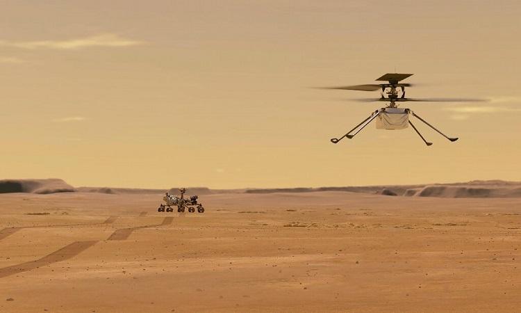 Mô phỏng trực thăng Ingenuity bay lơ lửng trên hành tinh đỏ. Ảnh: NASA.