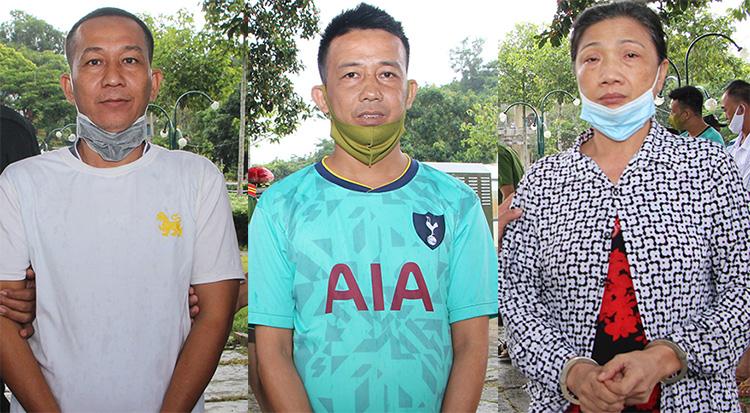 Võ Văn Trung, Phạm Thanh Sang và Lê Thị Bạch Vân (từ trái sang) tại cơ quan công an. Ảnh: An Phú