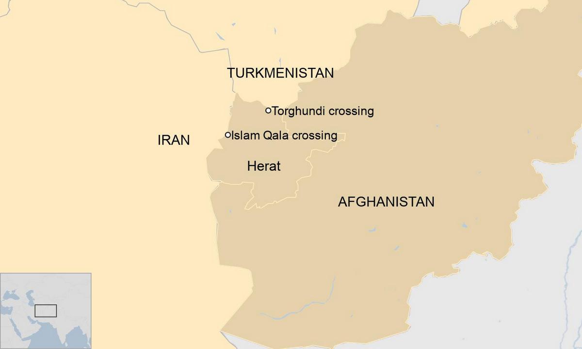 Vị trí tỉnh Herat và hai cửa khẩu giữa Afghanistan với Iran, Turkmenistan. Đồ họa: BBC.