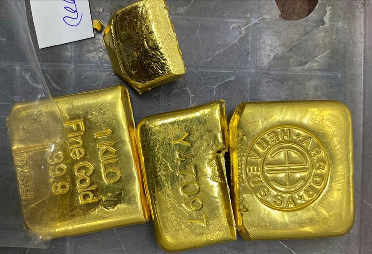 Số vàng được thu giữ, được cho là liên quan đường dây buôn lậu. Ảnh: An Phú