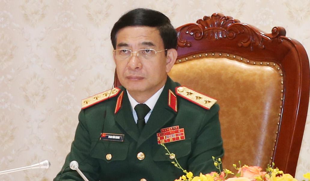 Bộ trưởng Quốc phòng Việt Nam, thượng tướng Phan Văn Giang tại Phiên toàn thể thứ 2, Hội nghị An ninh Quốc tế Moscow lần thứ 9. Ảnh: Hồng Pha