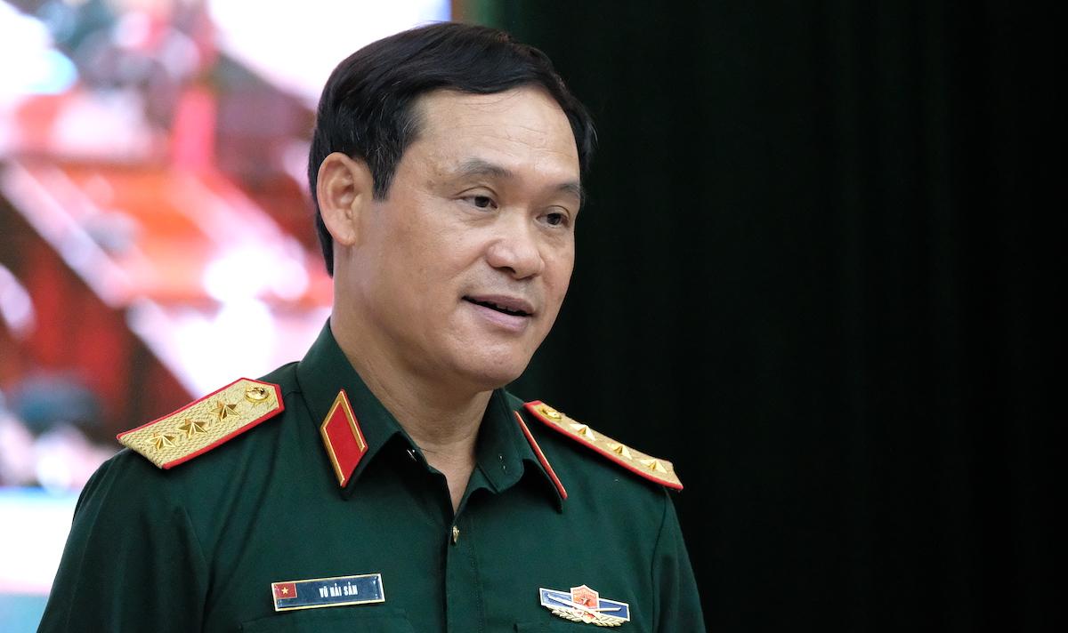 Thượng tướng Vũ Hải Sản, Thứ trưởng Quốc phòng, Trưởng Ban chỉ đạo phòng, chống Covid-19 của Quân đội phát biểu chỉ đạo cuộc họp sáng 14/7. Ảnh: Hoàng Thùy