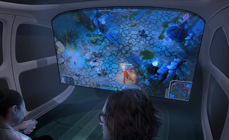 Không gian bên trong xe với một màn hình lớn.